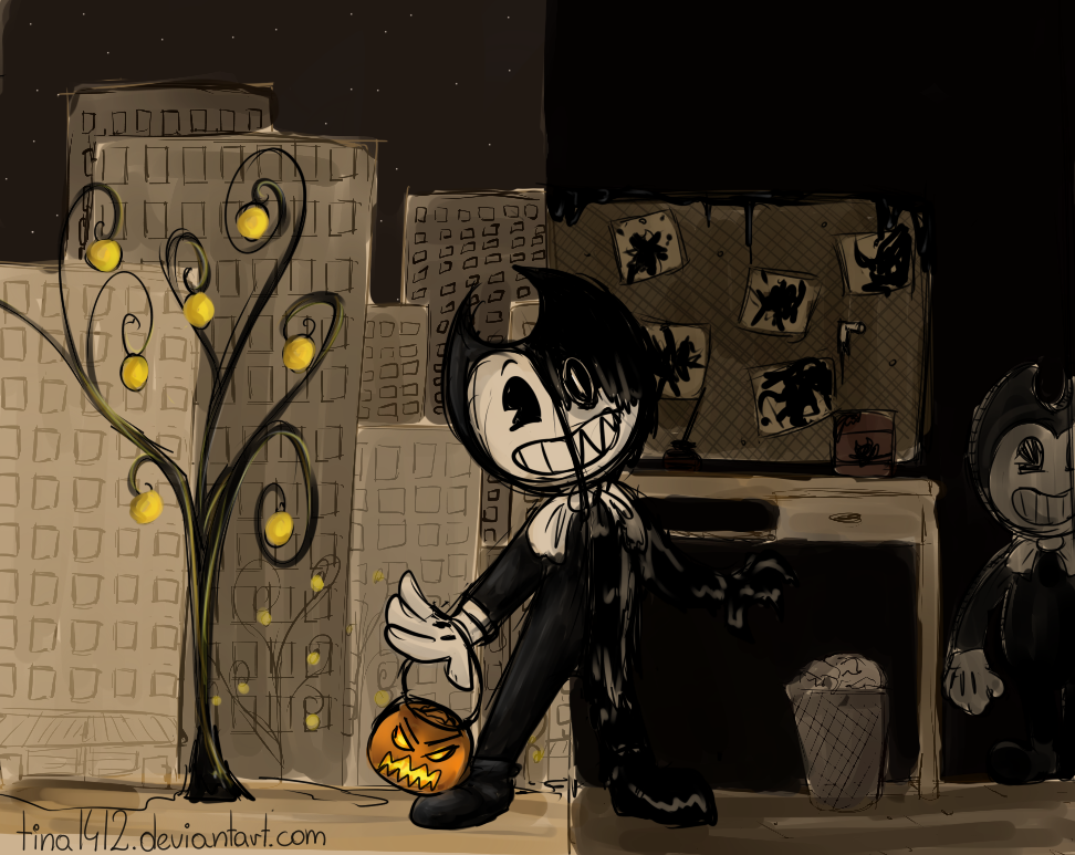 Doodle Bendy - Happy night town/ dark, horror room by tina1412