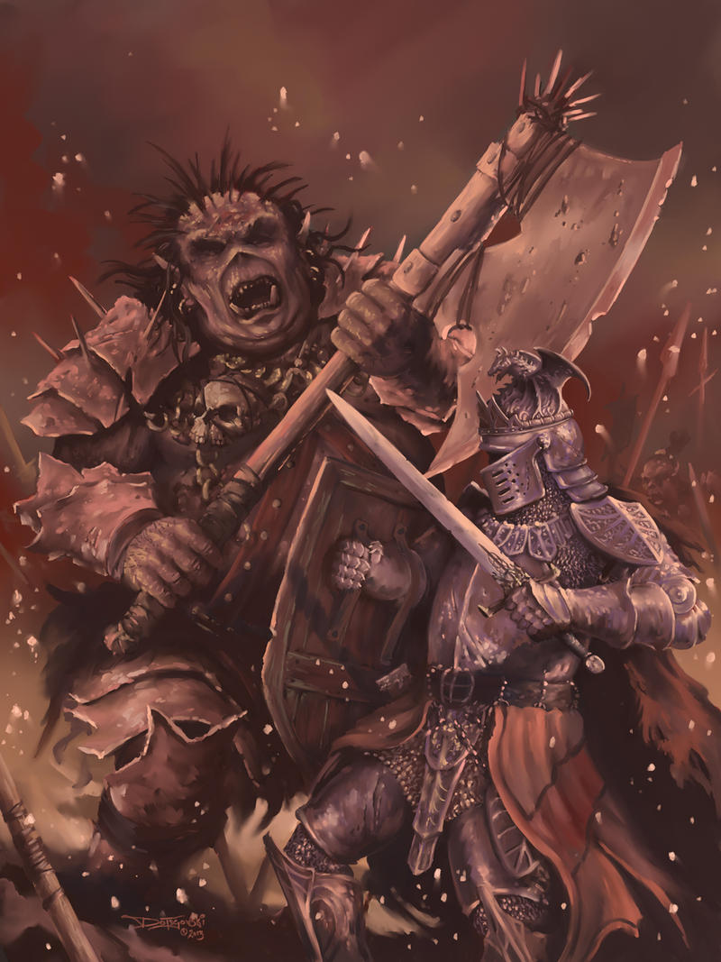 Giant Orc vs Knight by JohnDotegowski