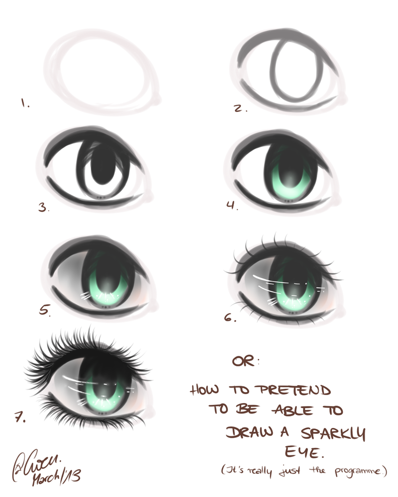 How to draw an eye in seven easy steps by thegweny