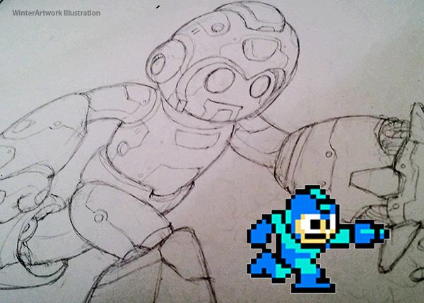 Mega Man Sketch by Winter-artwork