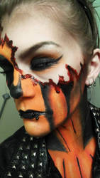 Close Up Pumpkin Makeup :Halloween Makeup: by CharlieLovesGaara