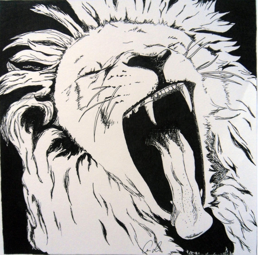 How to draw roaring lion