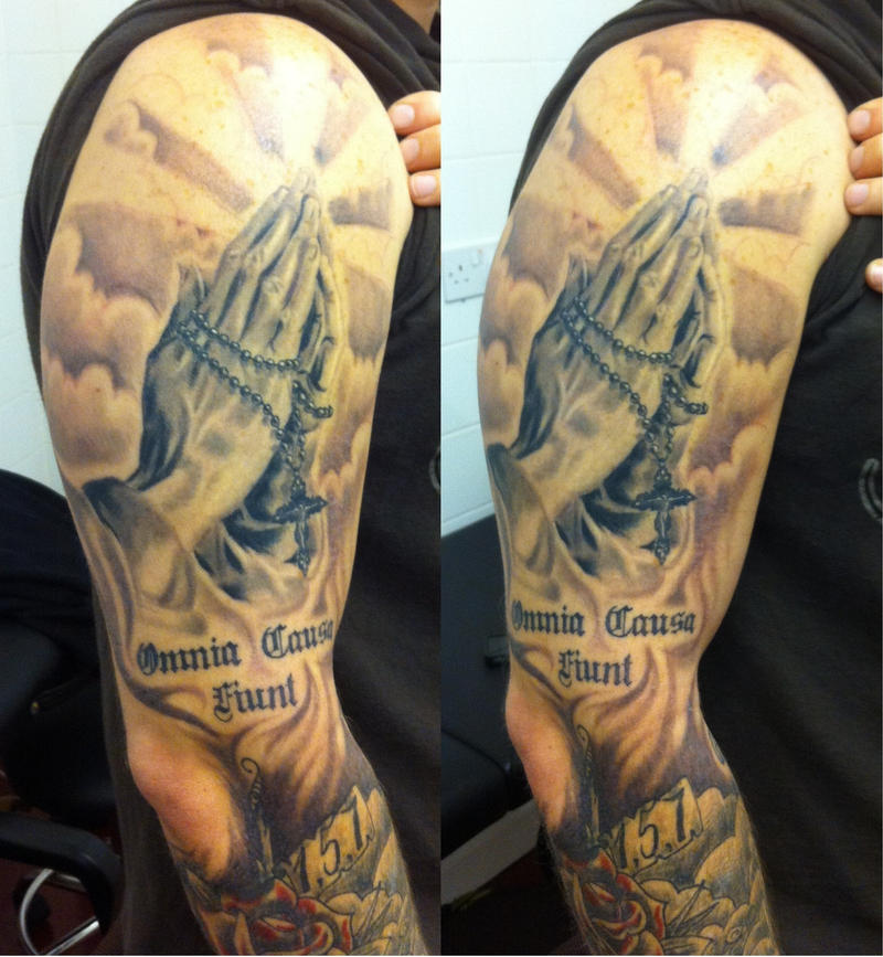Praying Hands With Cross Tattoo And Clouds Images &amp Pictures  Becuo