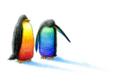 Rainbow Penguins by yagi-san
