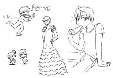 APH - Spain and Sitaly doodles by yagi-san