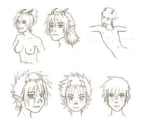 Demon doodles + one angel by yagi-san