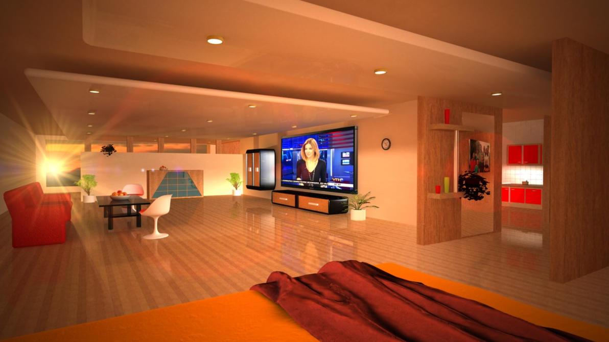 wohnzimmer bett ansicht by steelv grafix on deviantart. Black Bedroom Furniture Sets. Home Design Ideas
