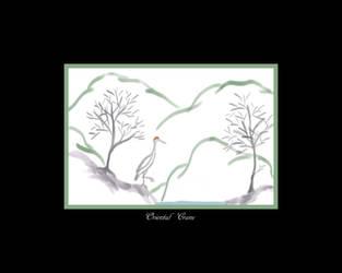 Oriental Crane - Print and Wallpaper Version by FaerieBert