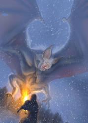 Giant Mountain Snow Bat Creature
