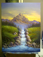 High-Country Waterfall - Lesson Painting by Brandon-Schaefer