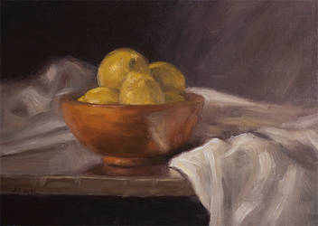 Bowl of Lemons with Cloth - Still Life by Brandon-Schaefer