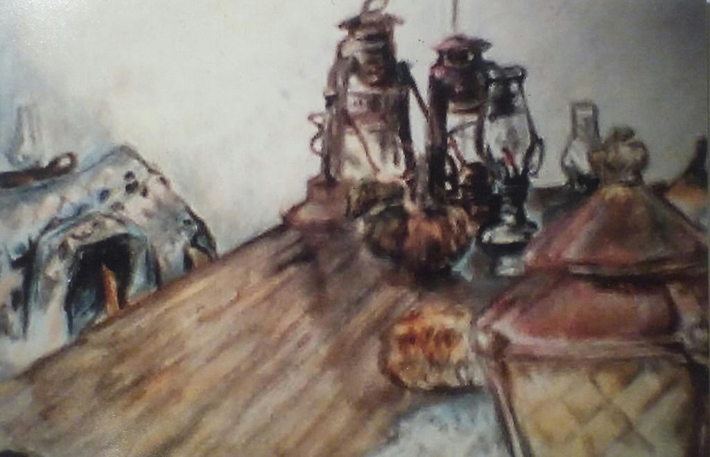 old lanterns on table by DILDYHEART