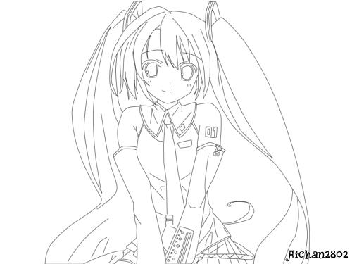 vocaloid hatsune miku lineart by aichan2802