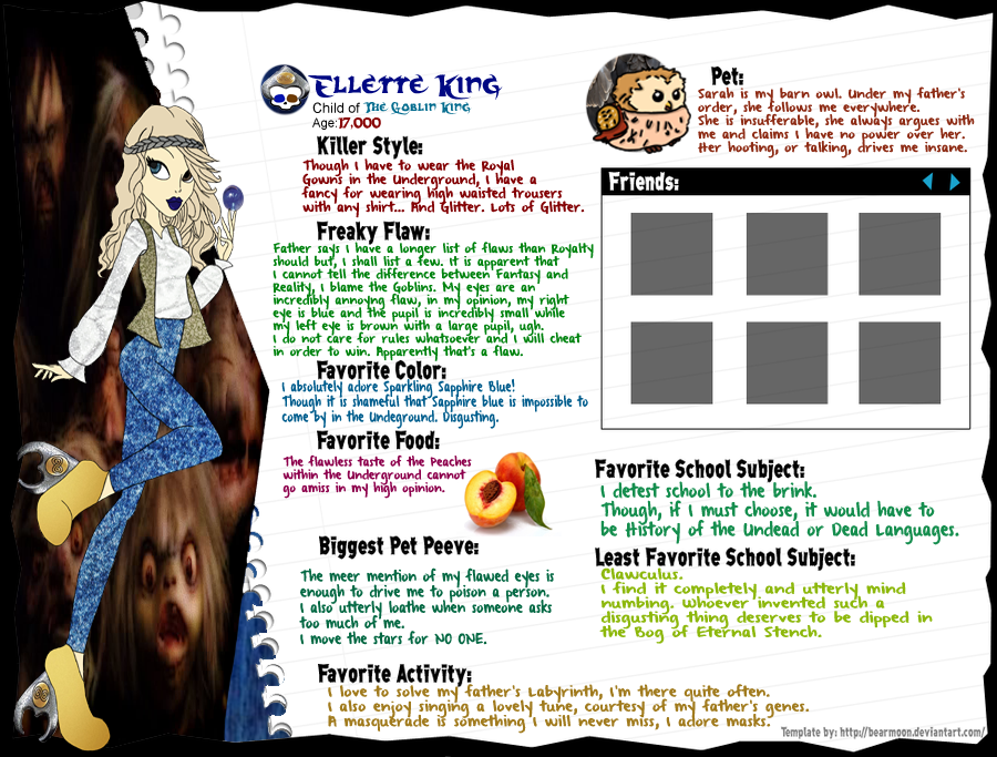 Monster High OC Ellette King Character Sheet by PadmeSapphira