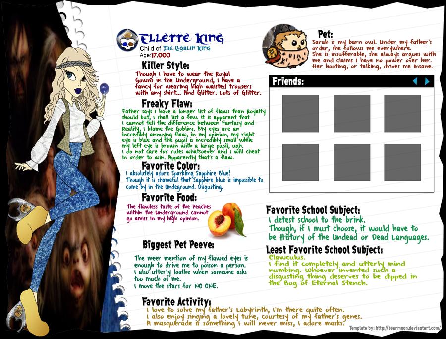 Monster High OC Ellette King Character Sheet By PadmeSapphira