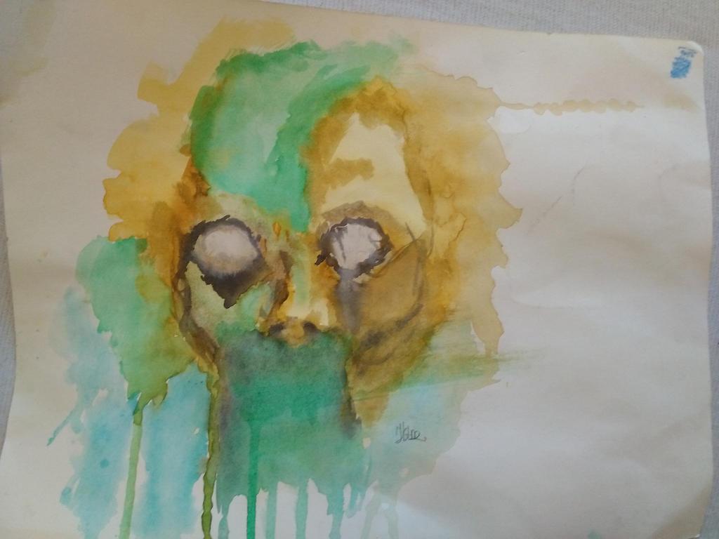 Watercolour skull by xSandra97