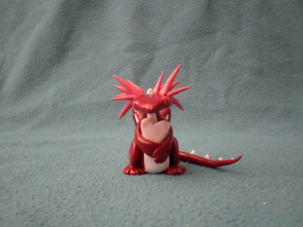 Red Polymer Clay Valentine's Day Dragon By