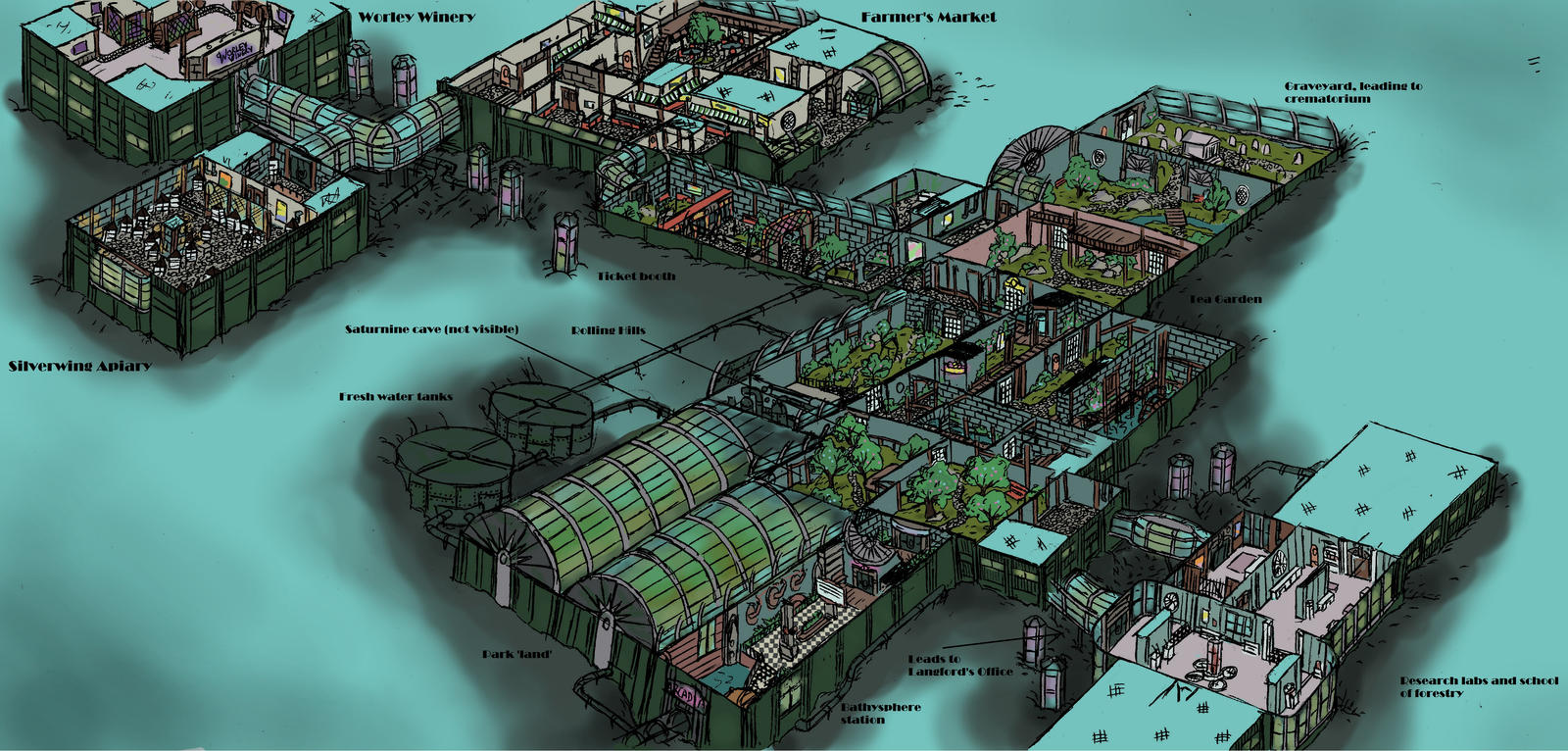 Arcadia And Farmers Market Rapture Cutaway Diagram By