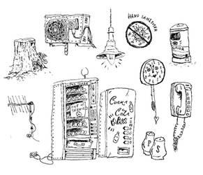 Random Illustration Flash Sheet V: Mundanity by Hebbybobdige