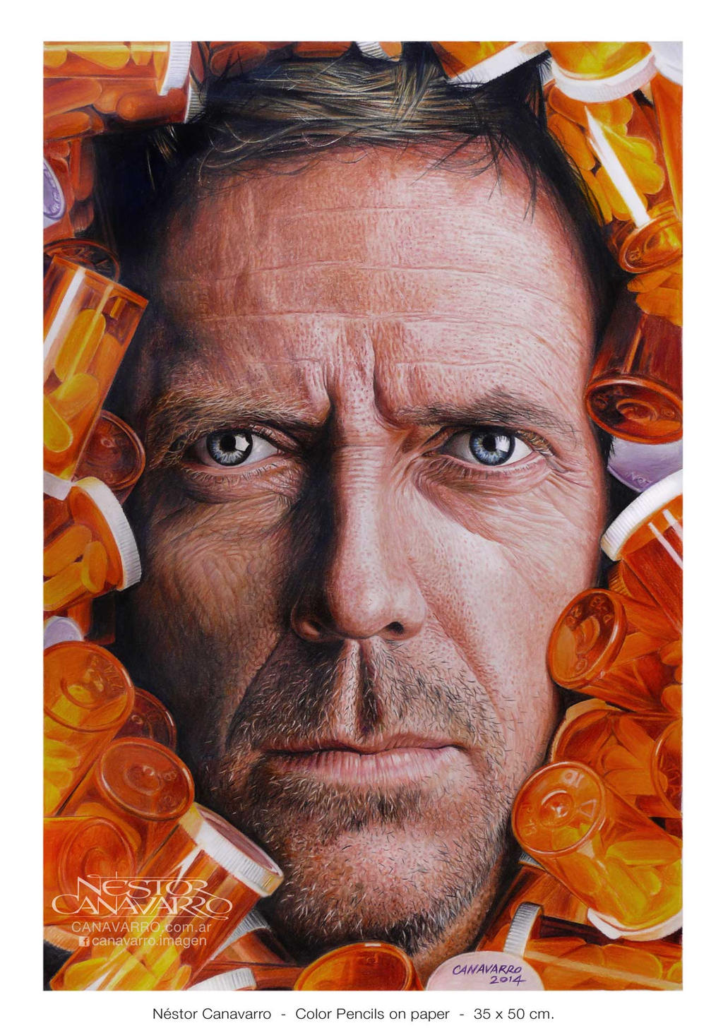 House MD - Hugh Laurie in color pencils by NestorCanavarro