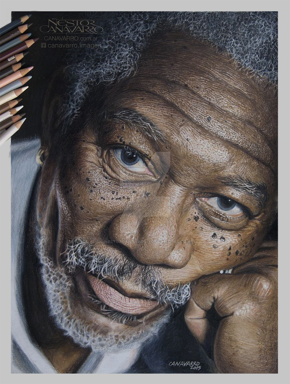 Morgan Freeman - Color Pencils on Paper by NestorCanavarro