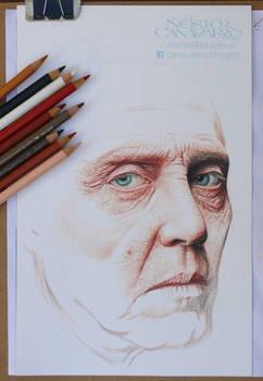 Christopher Walken - Color pencils on paper WIP-2