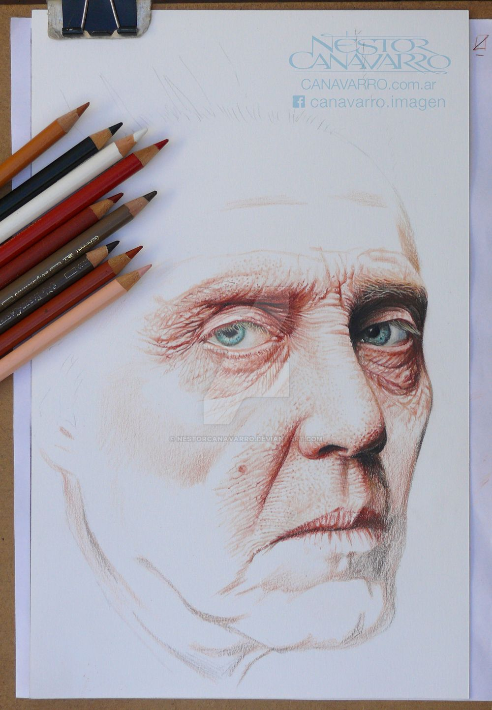 Christopher Walken - Color pencils on paper WIP-2 by NestorCanavarro
