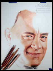 Tom Hanks - Colored pencils - WIP - stage 3