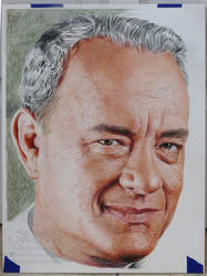 Tom Hanks - Colored pencils - WIP - stage 4