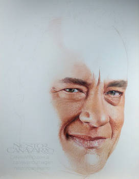 Tom Hanks - Colored pencils - WIP - stage 2