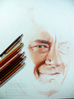 Tom Hanks - Colored pencils - WIP - stage 1