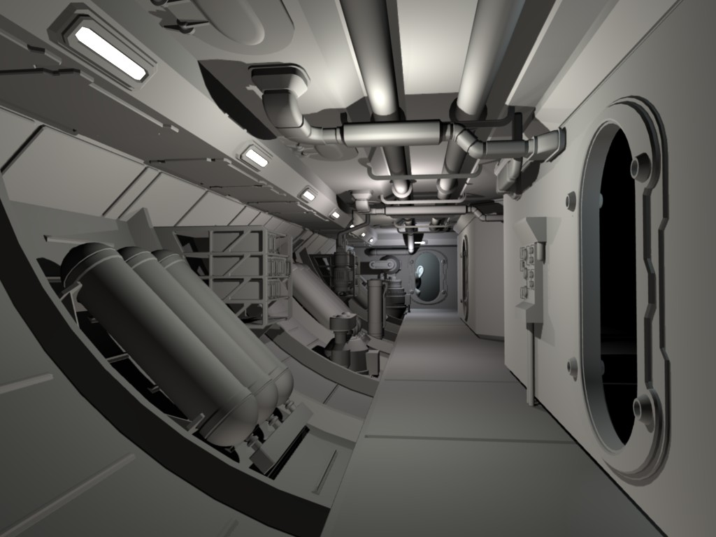 Spaceship hallway by d mounty sci fi environments for 11975 sunshine terrace