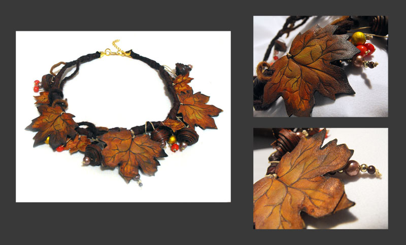 Fall maple leather necklace. by julishland
