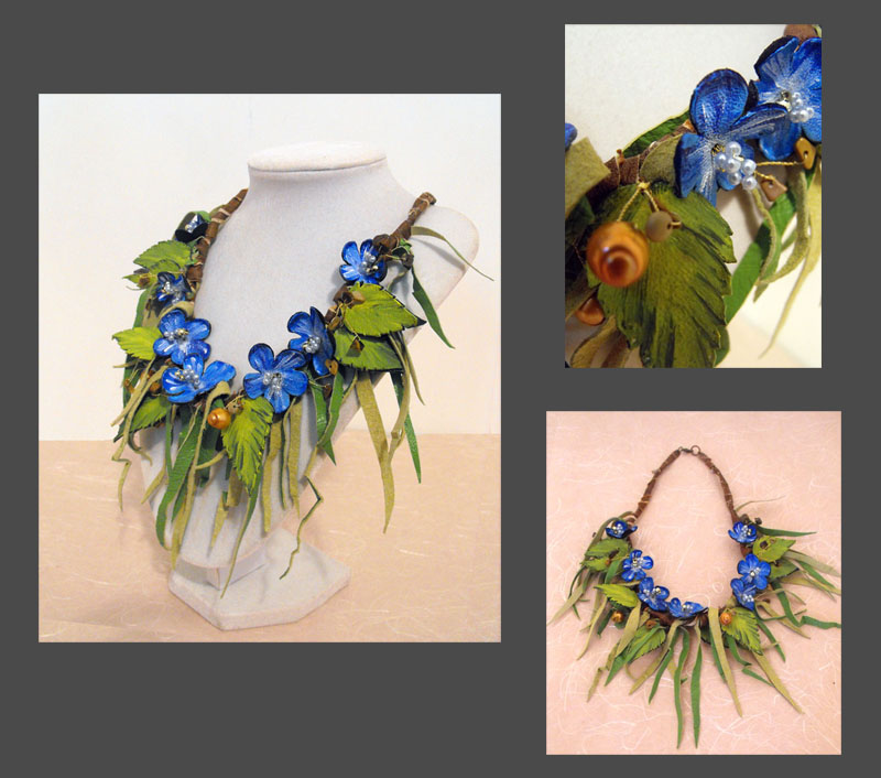 Leather_floral_blue_necklace_by_julishla