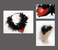 Leather heart with black leave by julishland