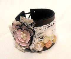 Leather and lace cuff bracelet by julishland