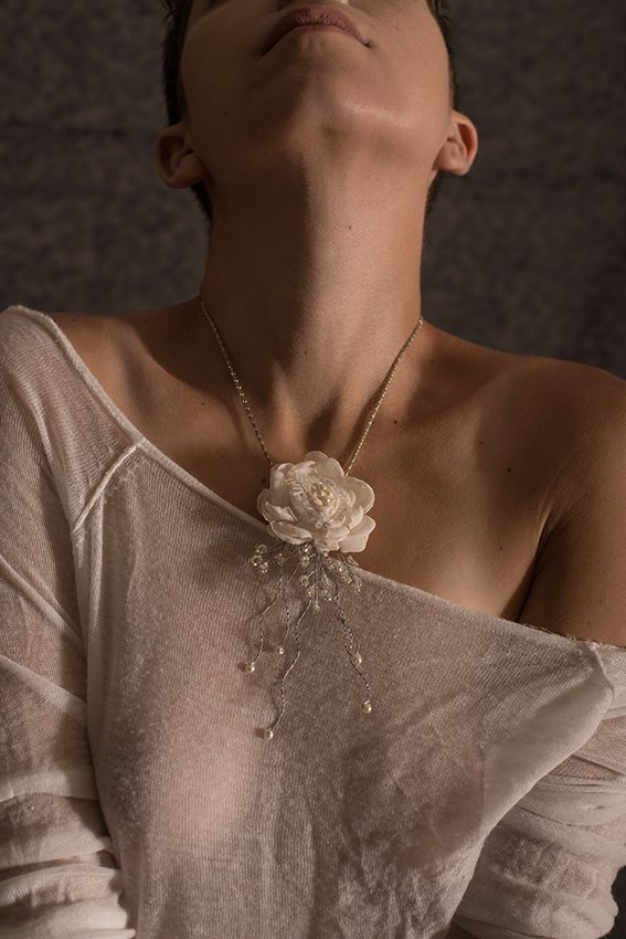 Lace Flower leather Pendant by julishland