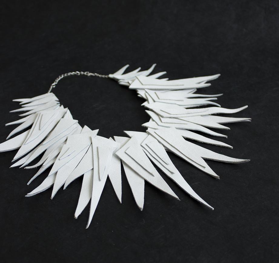 White geometric leather necklace by julishland