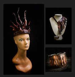 Dark Beauty leather art jewelry set