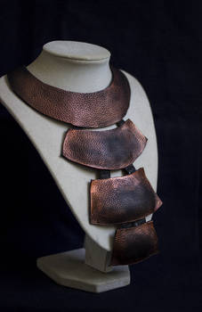 Art jewelry -Long elegant leather necklace