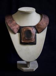 Art jewelry - elegant leather necklace