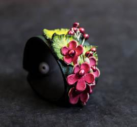 Floral leather cuff bracelet