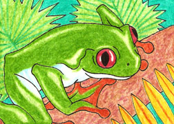 ACEO 7 - Treefrog by LuthienNightwolf
