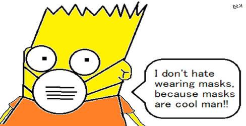 Bart Simpson Wears A Mask Against Coronavirus