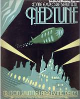 Retro Sci-fi Neptune Travel Poster