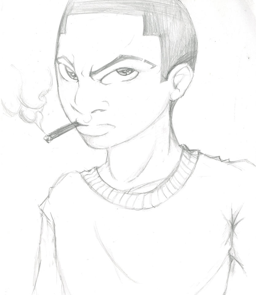 how to draw a person smoking