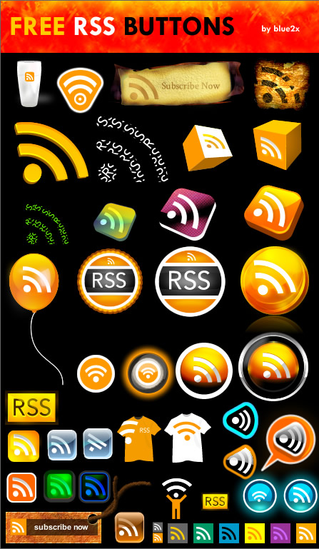 Fireworks RSS buttons by blue2x
