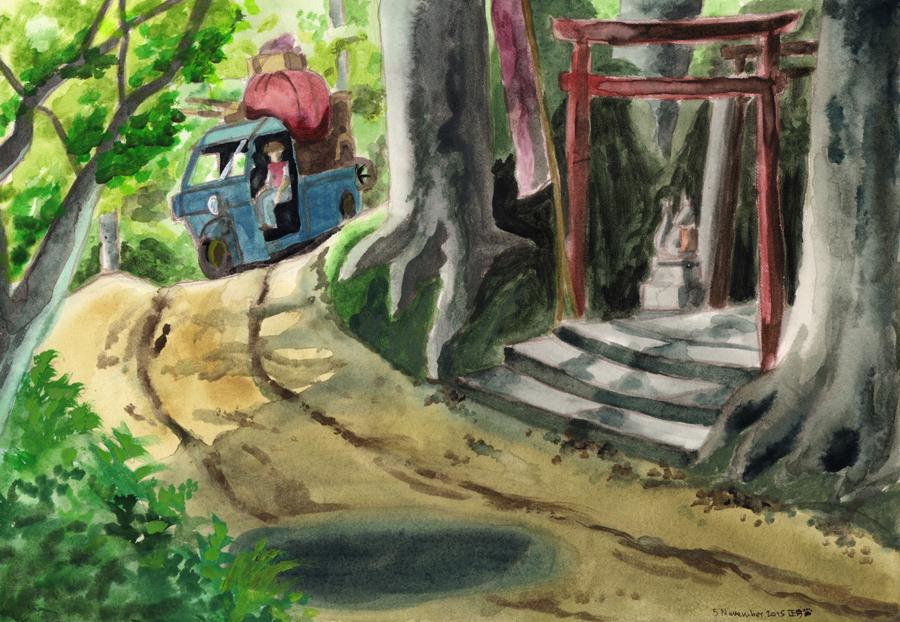 Totoro watercolour by masaothedog