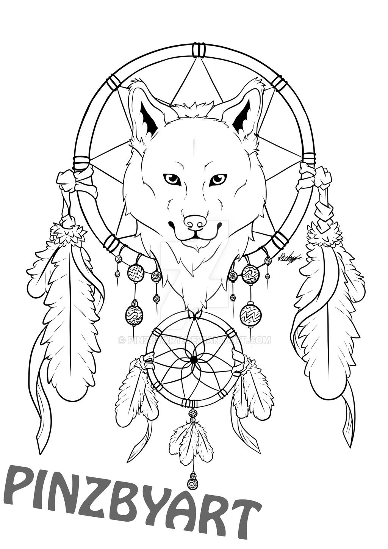 Lineart Wolf Tattoo : Wolf dreamcatcher lineart by pinzbyart on deviantart