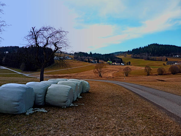 Hay bales along the country road by patrickjobst